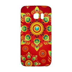 Red And Orange Floral Geometric Pattern Galaxy S6 Edge