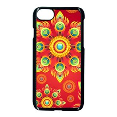 Red And Orange Floral Geometric Pattern Apple Iphone 7 Seamless Case (black) by LovelyDesigns4U