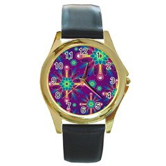 Purple And Green Floral Geometric Pattern Round Gold Metal Watch by LovelyDesigns4U