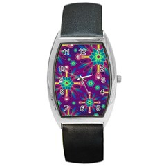 Purple And Green Floral Geometric Pattern Barrel Style Metal Watch by LovelyDesigns4U
