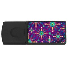 Purple And Green Floral Geometric Pattern Usb Flash Drive Rectangular (4 Gb) by LovelyDesigns4U