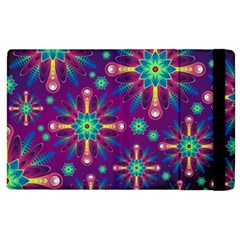 Purple And Green Floral Geometric Pattern Apple Ipad 2 Flip Case by LovelyDesigns4U