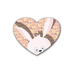 Easter Bunny  Rubber Coaster (heart)