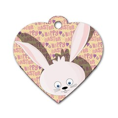Easter Bunny  Dog Tag Heart (one Side) by Valentinaart