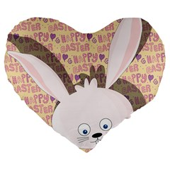 Easter Bunny  Large 19  Premium Flano Heart Shape Cushions by Valentinaart