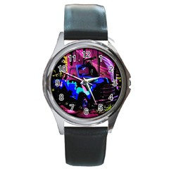 Abstract Artwork Of A Old Truck Round Metal Watch by Nexatart
