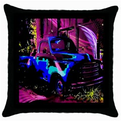 Abstract Artwork Of A Old Truck Throw Pillow Case (black) by Nexatart