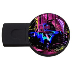 Abstract Artwork Of A Old Truck Usb Flash Drive Round (4 Gb) by Nexatart