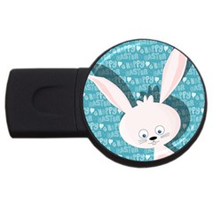 Easter Bunny  Usb Flash Drive Round (4 Gb) by Valentinaart
