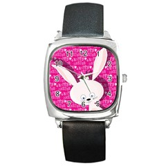 Easter Bunny  Square Metal Watch by Valentinaart