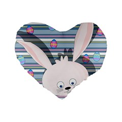 Easter Bunny  Standard 16  Premium Flano Heart Shape Cushions by Valentinaart