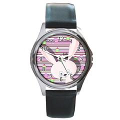 Easter Bunny  Round Metal Watch by Valentinaart