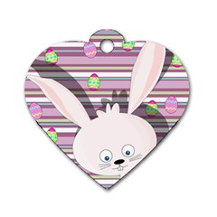Easter Bunny  Dog Tag Heart (two Sides) by Valentinaart