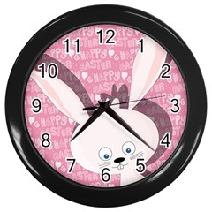 Easter Bunny  Wall Clocks (black) by Valentinaart