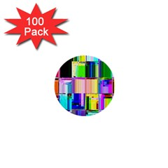 Glitch Art Abstract 1  Mini Buttons (100 Pack)  by Nexatart