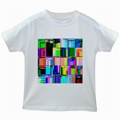 Glitch Art Abstract Kids White T Shirts