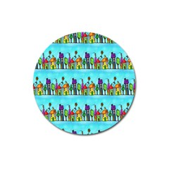 Colourful Street A Completely Seamless Tile Able Design Magnet 3  (round) by Nexatart