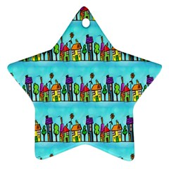 Colourful Street A Completely Seamless Tile Able Design Star Ornament (two Sides) by Nexatart