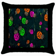 Cartoon Grunge Beetle Wallpaper Background Throw Pillow Case (black) by Nexatart