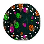 Cartoon Grunge Beetle Wallpaper Background Round Filigree Ornament (Two Sides) Back