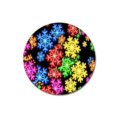 Colourful Snowflake Wallpaper Pattern Magnet 3  (round) by Nexatart