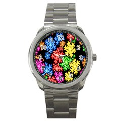 Colourful Snowflake Wallpaper Pattern Sport Metal Watch by Nexatart
