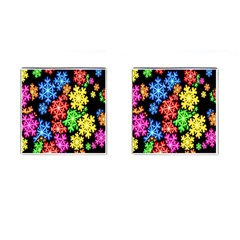 Colourful Snowflake Wallpaper Pattern Cufflinks (square)