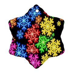 Colourful Snowflake Wallpaper Pattern Snowflake Ornament (two Sides) by Nexatart