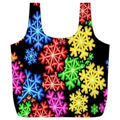 Colourful Snowflake Wallpaper Pattern Full Print Recycle Bags (l)