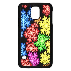 Colourful Snowflake Wallpaper Pattern Samsung Galaxy S5 Case (black) by Nexatart