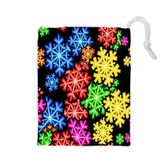 Colourful Snowflake Wallpaper Pattern Drawstring Pouches (large)  by Nexatart