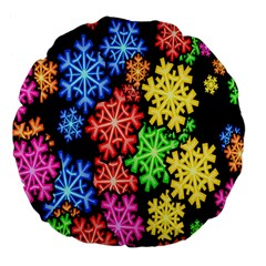 Colourful Snowflake Wallpaper Pattern Large 18  Premium Flano Round Cushions by Nexatart