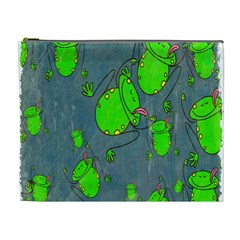 Cartoon Grunge Frog Wallpaper Background Cosmetic Bag (xl) by Nexatart