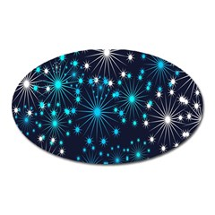 Digitally Created Snowflake Pattern Background Oval Magnet by Nexatart