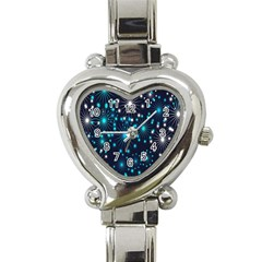Digitally Created Snowflake Pattern Background Heart Italian Charm Watch