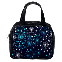 Digitally Created Snowflake Pattern Background Classic Handbags (one Side) by Nexatart