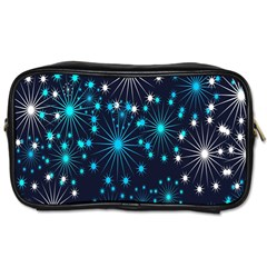 Digitally Created Snowflake Pattern Background Toiletries Bags by Nexatart
