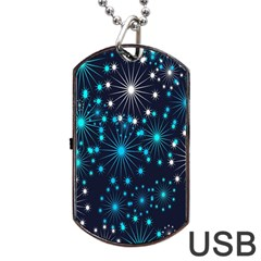 Digitally Created Snowflake Pattern Background Dog Tag Usb Flash (one Side) by Nexatart