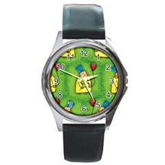 Party Kid A Completely Seamless Tile Able Design Round Metal Watch by Nexatart