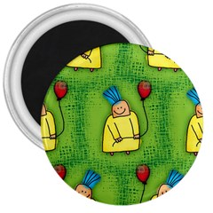 Party Kid A Completely Seamless Tile Able Design 3  Magnets by Nexatart