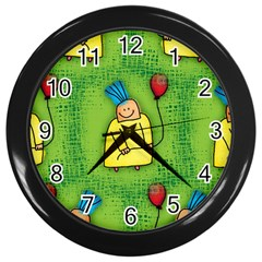 Party Kid A Completely Seamless Tile Able Design Wall Clocks (black)