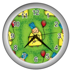 Party Kid A Completely Seamless Tile Able Design Wall Clocks (silver)  by Nexatart