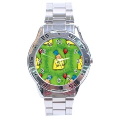 Party Kid A Completely Seamless Tile Able Design Stainless Steel Analogue Watch by Nexatart