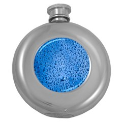 Water Drops On Car Round Hip Flask (5 Oz) by Nexatart