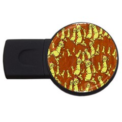 Cartoon Grunge Cat Wallpaper Background Usb Flash Drive Round (4 Gb) by Nexatart