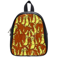 Cartoon Grunge Cat Wallpaper Background School Bags (small)  by Nexatart