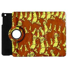 Cartoon Grunge Cat Wallpaper Background Apple Ipad Mini Flip 360 Case by Nexatart