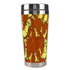 Cartoon Grunge Cat Wallpaper Background Stainless Steel Travel Tumblers
