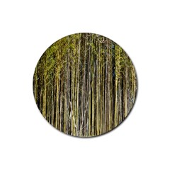 Bamboo Trees Background Rubber Coaster (round)  by Nexatart