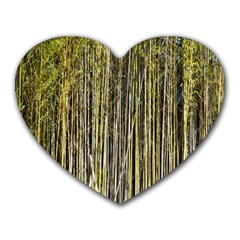 Bamboo Trees Background Heart Mousepads by Nexatart